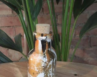 Vintage Hand Formed Painted Glass Bottle Black/White/Orange