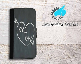 iPhone Wallet Case for iPhone 5c SE 5C 5S 6 6S 7 and Plus  Couple Love initials Chalk design perfect for New love iPhone case for couples