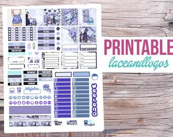 Printable Planner Stickers Kawaii Planner Girl Weekly Kit for Mini MAMBI Happy Planner Glam Planning PDF JPG Print at Home Hp Blue Purple