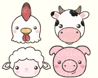 Cute Farm Animals Cow Hen Chicken Pig Sheep Kawaii Clip Art Digital Planner Sticker Instant Download Printable Invitation Birthday PNG