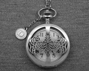 Bat Pocket Watch Dark Silver Animal Hollow Out Men's Womens Filigree Pocket Watch Fob Locket Pendants Charms 46mm -For Christmas gifts -P652