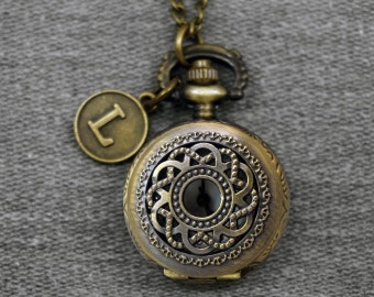 Twisted Floral Pocket Watch Antique Bronze Small Double Circle Flower Watch Fob Little Hollow Out Mens Pocket Watch Pendant 27mm -P579
