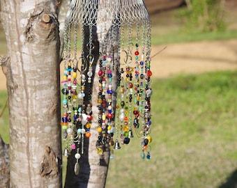 Handmade Suncatcher, Windchime, Yard Ornament, Beaded, Garden