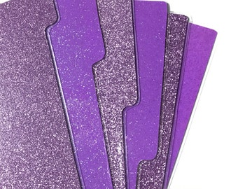 purple glittery planner dividers glitter laminated handmade sparkly, top quality