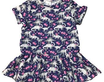 Dinosaur Peplum • Floral Peplum (Baby Peplum, Toddler Peplum, Girls Peplum, Kids Peplum, Dinosaur Shirt, Dinosaur Birthday, Dino Cake Smash)
