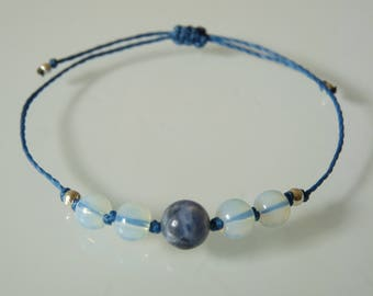 """Peace and clarity of mind"" beaded bracelet, Sodalite, Opaline, Meditation, Yoga, Zen, minimalist, Chakra, Crystal healing"