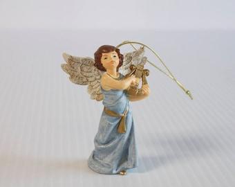 Vintage Angel Playing Harp Christmas Ornament - Hard Plastic Cherubs Holiday Decor