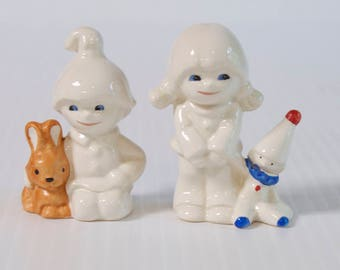 Vintage Goebel Figurine Set - Boy with Bunny - Girl with Toy Clown - Nursery Decor