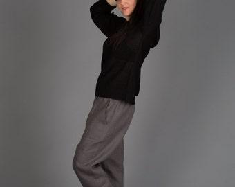 Harem pants, Dark grey Linen pants,Woman pants,Natural linen pants,Trousers, Yoga pants Natural linen pants/Washed women linen trousers