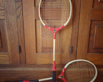 Vintage Badminton Rackets ~ Pair of Red Rackets ~ Vintage Sports Decor ~ Vintage Rackets ~ Sports Memorabilia ~ Top Notch ~ Shabby Sports