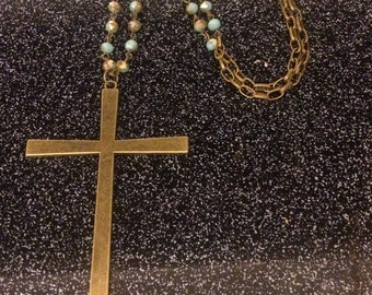 """34"""" necklace with 4"""" bronze cross"""