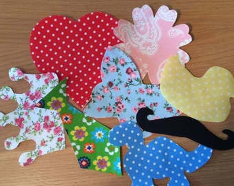 6 x Premade or Make your own Fabric Iron-ons for Baby Shower Game Craft Activity