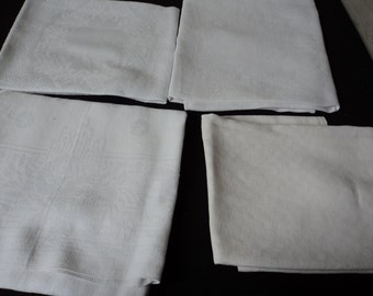 Four French vintage assorted damask napkins (04140)