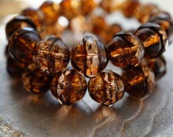 Amber Bliss, Saucer Beads, Czech Beads, Beads, N2364