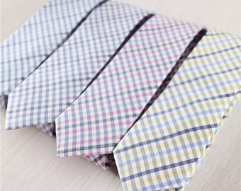blue narrow silk neck ties for men.gingham neckties.red checkered neck ties.yellow ties for adults.best Christmas gifts for him+nt.113s