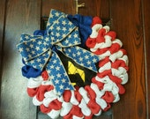 Local Drop Off!  American Flag, Flag Wreath, Fourth of July Wreath, 4th of July Wreath, Veteran, Patriotic Wreath, Summer, Burlap Flag