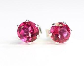 Pink topaz earrings;Gemstone earrings;Topaz;Stud earrings,Pink earrings;November;Birthstone;Sterling silver earrings,Bridesmaid gift,post