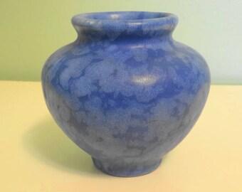 Vintage McCoy Art Deco Pottery Vellum Squat Vase Blue Matte Finish