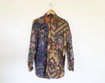 Jyora Indonesian Batik Pattern Block Beaded Oxford