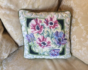 Lovely wool tapestry cushion with anemones.