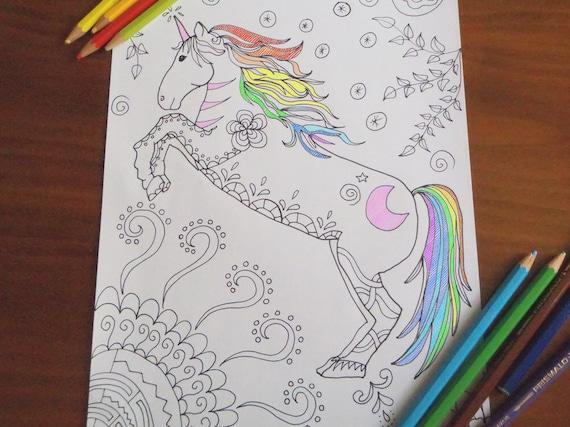 Unicorno pagina da colorare cavallo bambini adulti zen - Lederhosen pagina da colorare ...