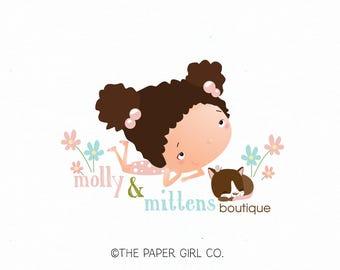 little girl logo cat logo photography logo children's logo baby shop logo boutique logo bow shop logo kitty logo kitten logo party logo