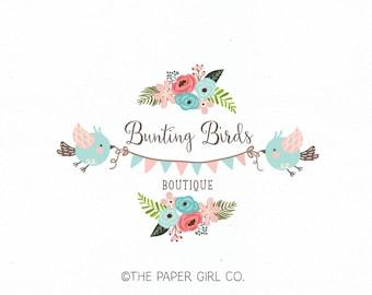 bunting logo bird logo design photography logo baby boutique logo children's logo knitting shop logo fabric shop logo sewing shop logo