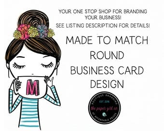 made to match round business card design business card template business card branding etsy shop branding