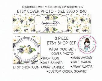 etsy shop set flower shop set boutique shop set premade shop set rose shop set peony shop set ranunculus shop set shop icon etsy shop banner