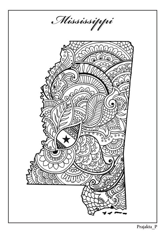 mississippi state map adult coloring page zentangle usa states map coloring pages adult printable coloring patriotic printable art - Map Coloring Book