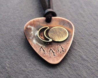 Personalized guitar pick necklace, Mens personalized necklace, mens personalized jewelry, moon sun tree jewelry, boyfriend gift husband gift