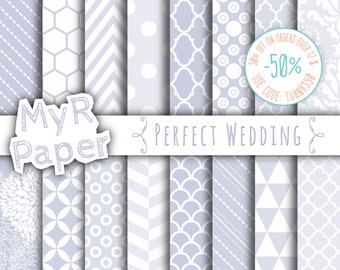 """SALE 50% Wedding Digital Paper: """"Perfect Wedding"""" Digital Paper Pack and Backgrounds, Chevron, Damask, Stripes and Polka Dots, Dust Color"""