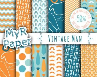 "Orange Digital Paper: ""Vintage Man"" digital paper pack & backgrounds with mustache, tie, glasses, hat in orange, blue teal and white"