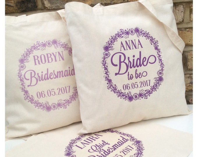 Personalised tote bag |Bride to be | Soon to be Mrs | Wedding party | Hen do | Floral | Flower girl | Wedding tote | gift bag