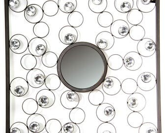 Black Mirror with Crystals - Circle Centre or Square centre.