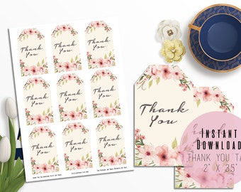 """2""""x3.5"""" Pink Boho Floral Wreath Printable Thank You Tags - Boho Gift Tag - Stickers - Baby Shower - Birthday - Engagement - Instant Download"""