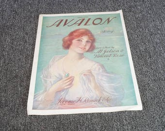 Vintage Sheet Music Avalon Fox Trot Song by Al Jolson and Vincent Rose c. 1920s