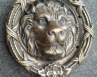 """Large Solid Brass Lion Head Door Knocker 8"""" dia. #D3"""