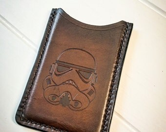 Storm Trooper Card Wallet, Star Wars, Hand Stitched Leather