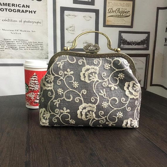 Vintage Floral Lace Bag Kit/Purse Frame Sewing Kit/Pre-cut