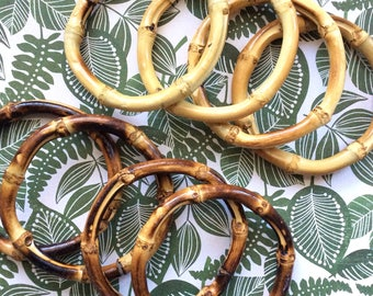 Set of 4 Real Bamboo Bangles, You Choose Colors From Light or Dark Stain. Perfect for Tiki or Tropical Outfits! Pinup, VLV, Polynesian