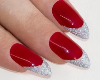 Bling Art Stiletto False Nails Fake Acrylic Red 4 Danger Full Medium Tips UK