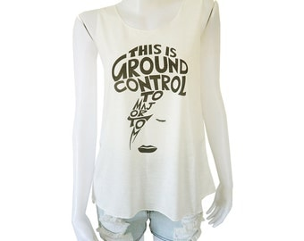 David Bowie Ziggy Stardust This is Ground Control To Major Tom Print Lady Women's Singlet Tank Top Vest Blouse Shirt Tee T-Shirt White S M L