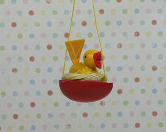 Vintage Easter chick in nest ornament wooden yellow red 1960s