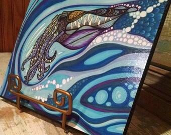 Bevel mounted Cuttlefish print
