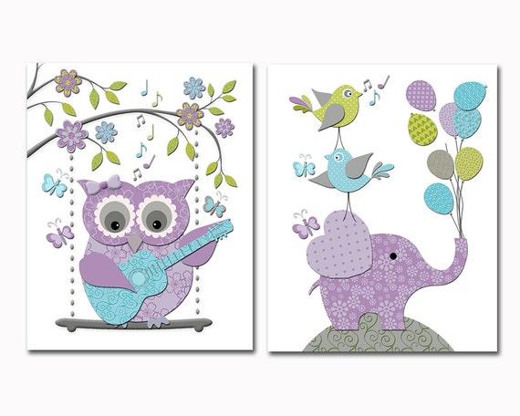 Nursery Wall Art Elephant Owl Nursery Decor Kids Room Decor