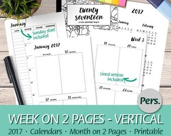 Personal - 2017 Week on Two Pages Vertical, Month On Two Pages, Dated Weekly Planner, Calendars, Wo2P, Mo2P - Printable Planner Insert, PDF