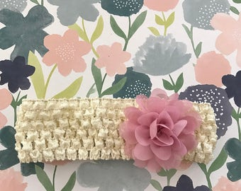 Cream and Rose/Orchid headband