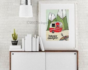 Travel Trailer decor art print- Map art print. Camper map art print. Retro Bolor map wall art.  Travel trailer poster. Travel trailer decor.