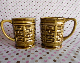Retro Mugs Coffee Cups Hexagonal Olive Green Set of 2 Made in Japan